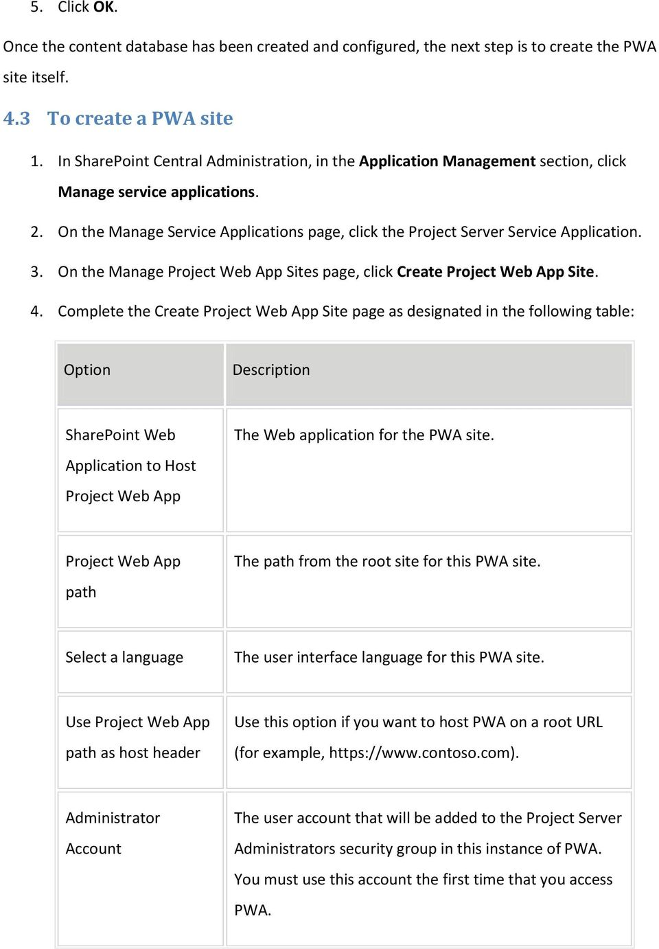 On the Manage Service Applications page, click the Project Server Service Application. 3. On the Manage Project Web App Sites page, click Create Project Web App Site. 4.