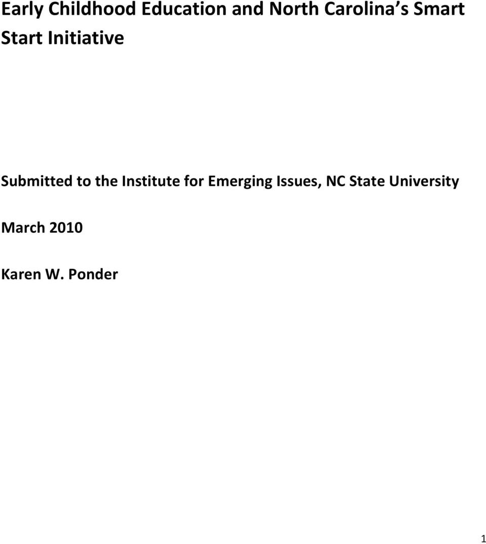 Submitted to the Institute for Emerging