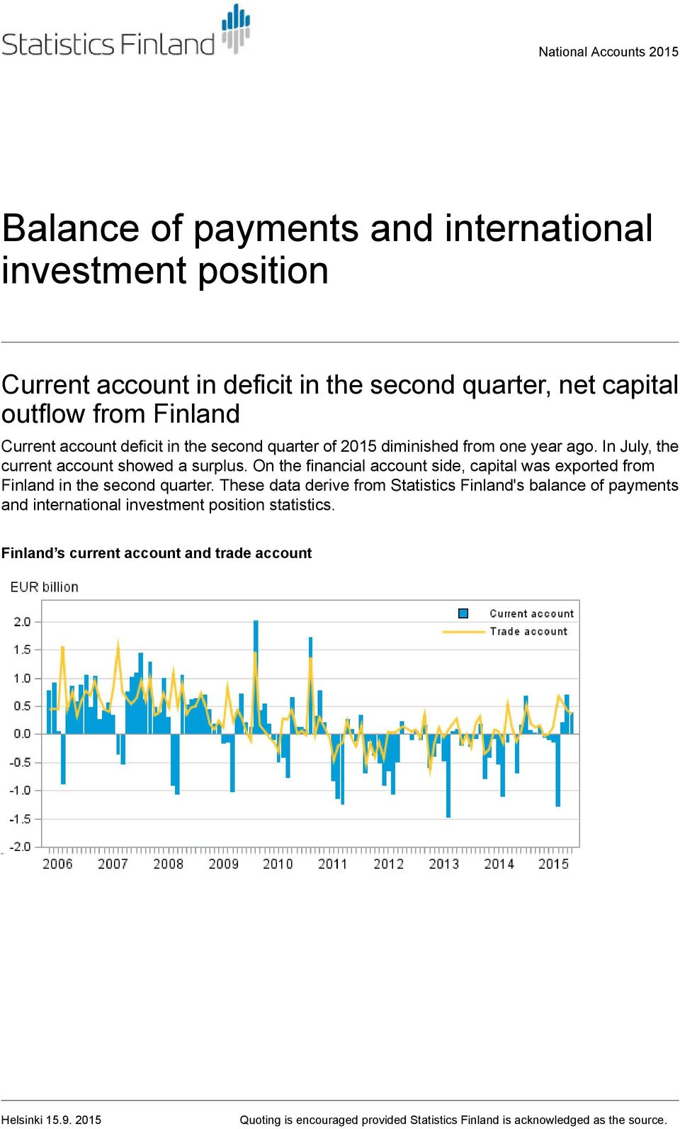 On the financial account side, capital was exported from Finland in the second quarter.