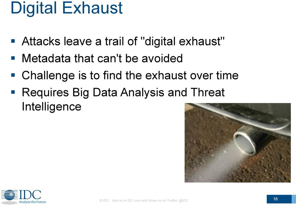 exhaust over time Requires Big Data Analysis and Threat