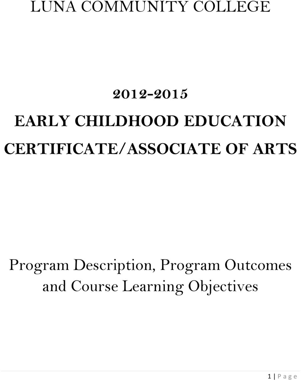 OF ARTS Program Description, Program