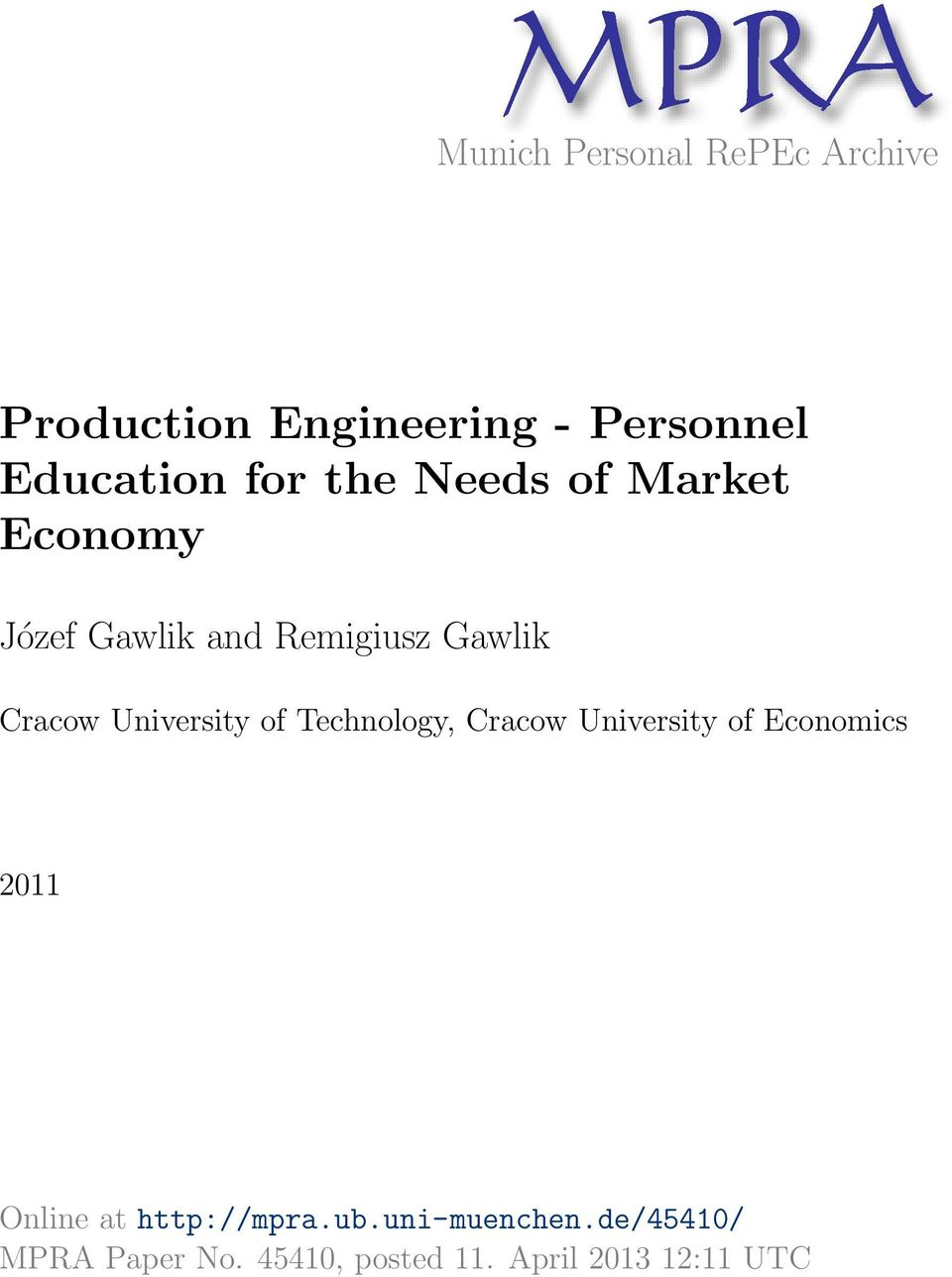 Cracow University of Technology, Cracow University of Economics 2011 Online at