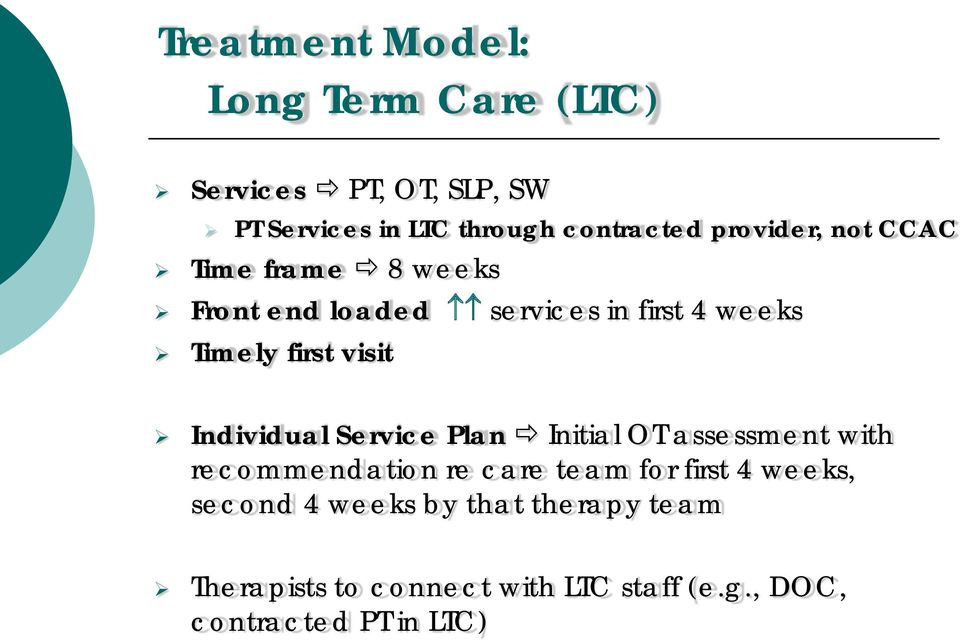 Individual Service Plan Initial OT assessment with recommendation re care team for first 4 weeks,