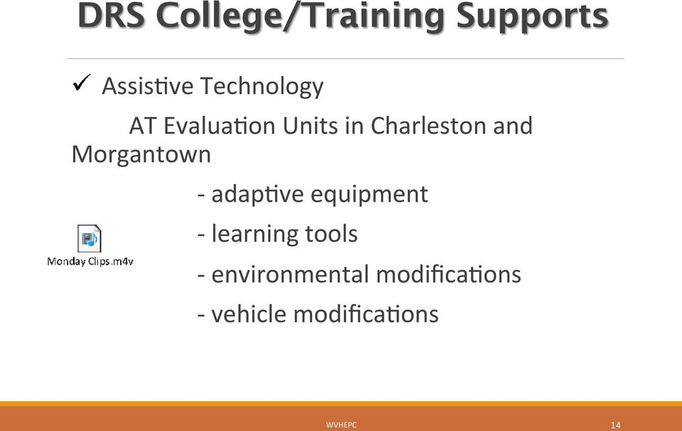 Morgantown - adapave equipment - learning tools