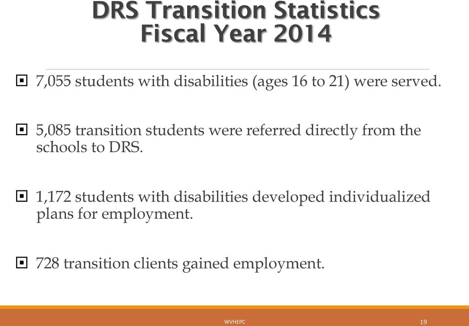 5,085 transition students were referred directly from the schools to DRS.