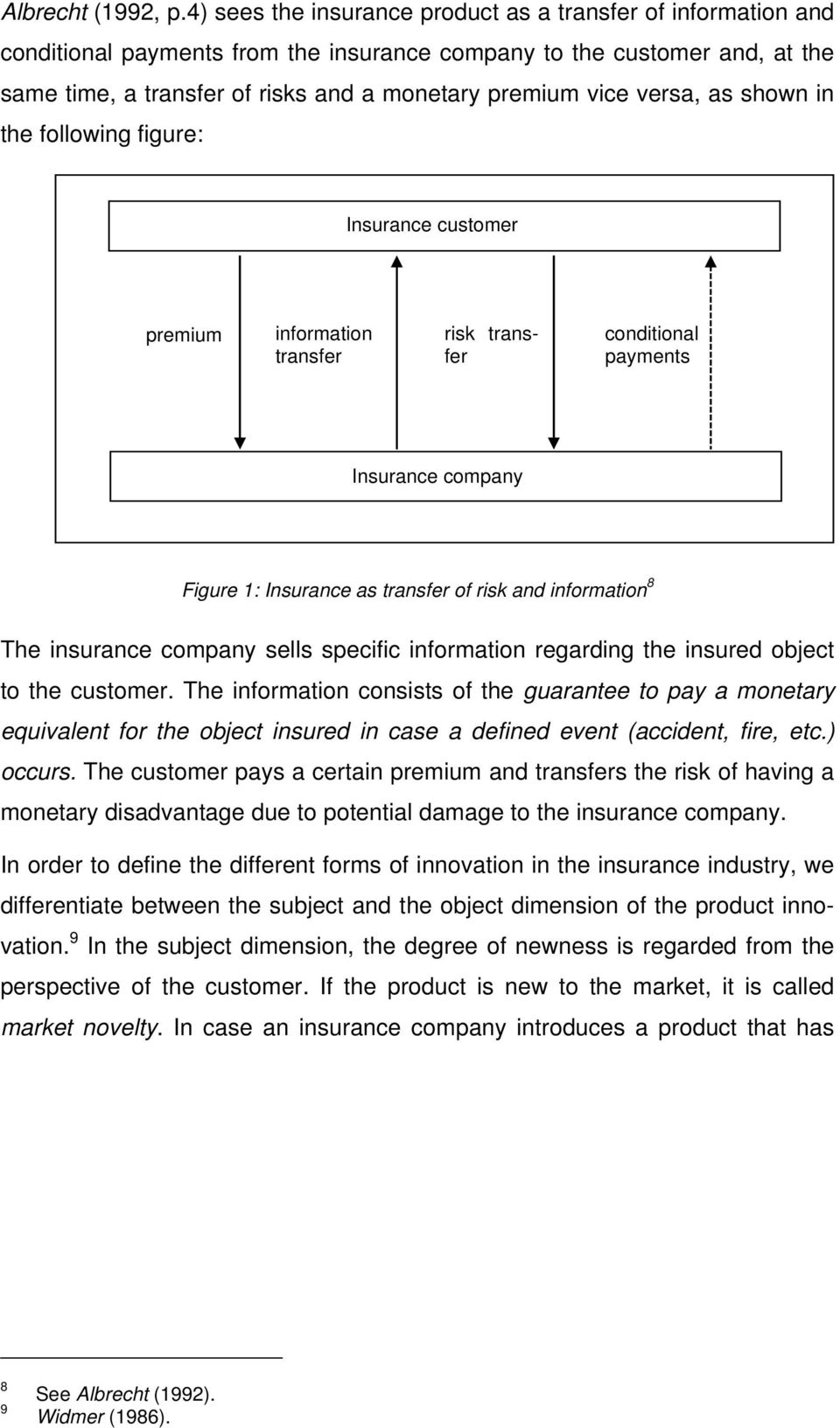 versa, as shown in the following figure: Insurance customer premium information transfer risk transfer conditional payments Insurance company Figure 1: Insurance as transfer of risk and information 8