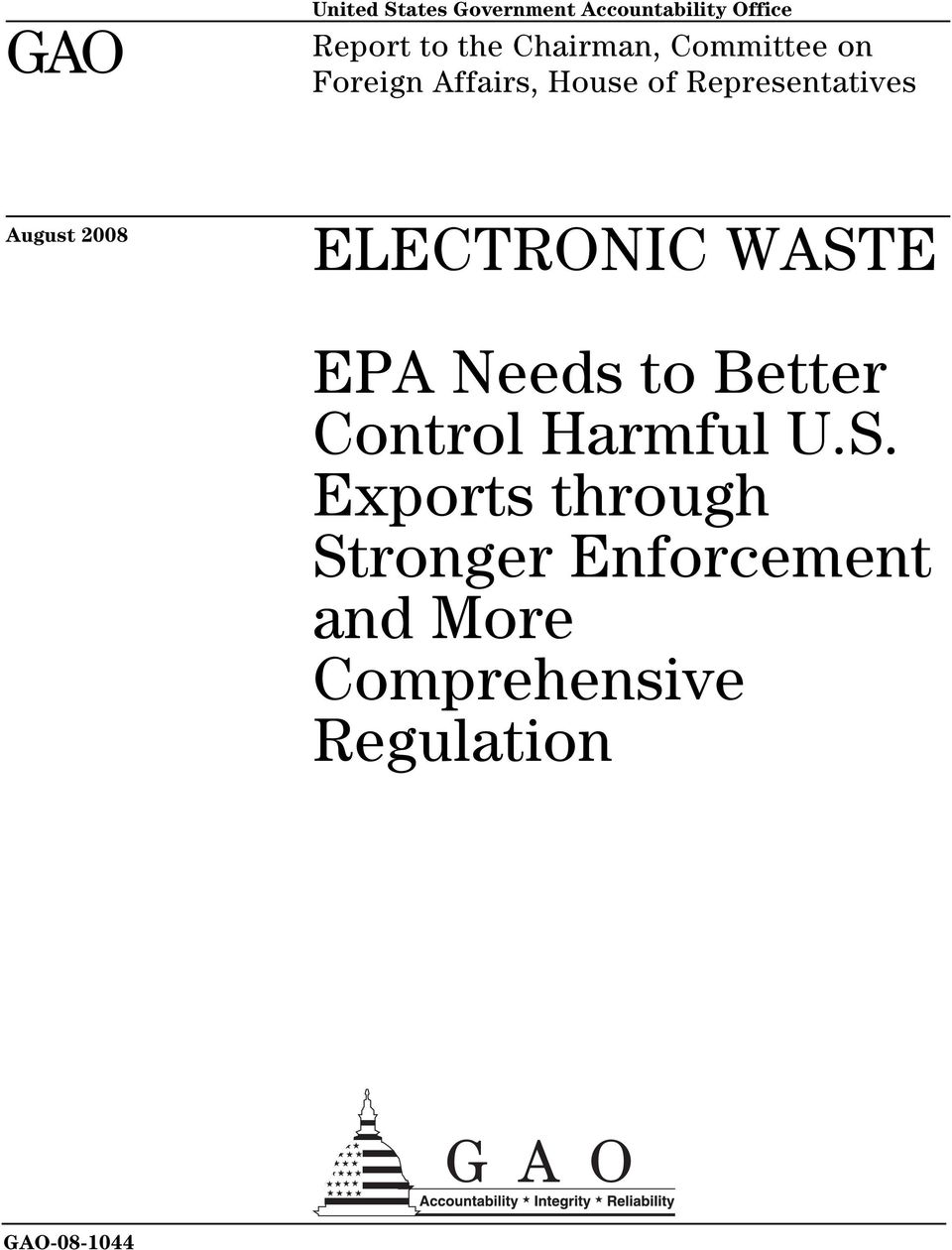 August 2008 ELECTRONIC WAST