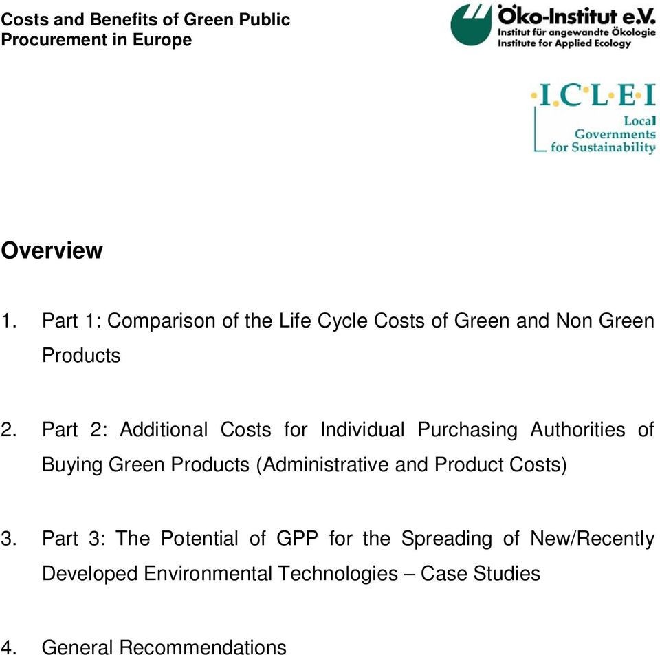 Part 2: Additional Costs for Individual Purchasing Authorities of Buying Green Products