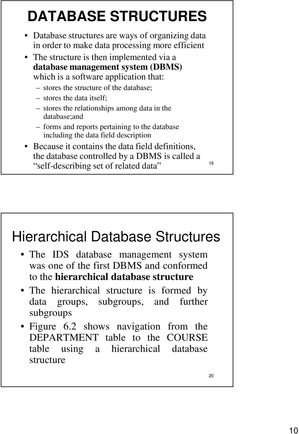 including the data field description Because it contains the data field definitions, the database controlled by a DBMS is called a self-describing set of related data 19 Hierarchical Database