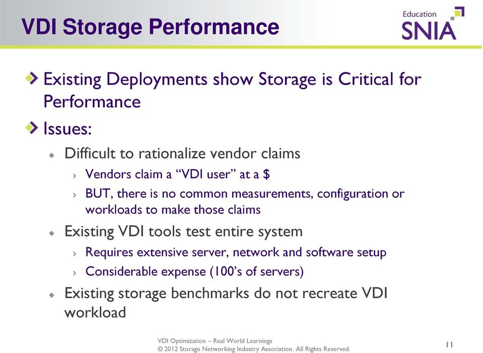 or workloads to make those claims Existing VDI tools test entire system Requires extensive server, network and