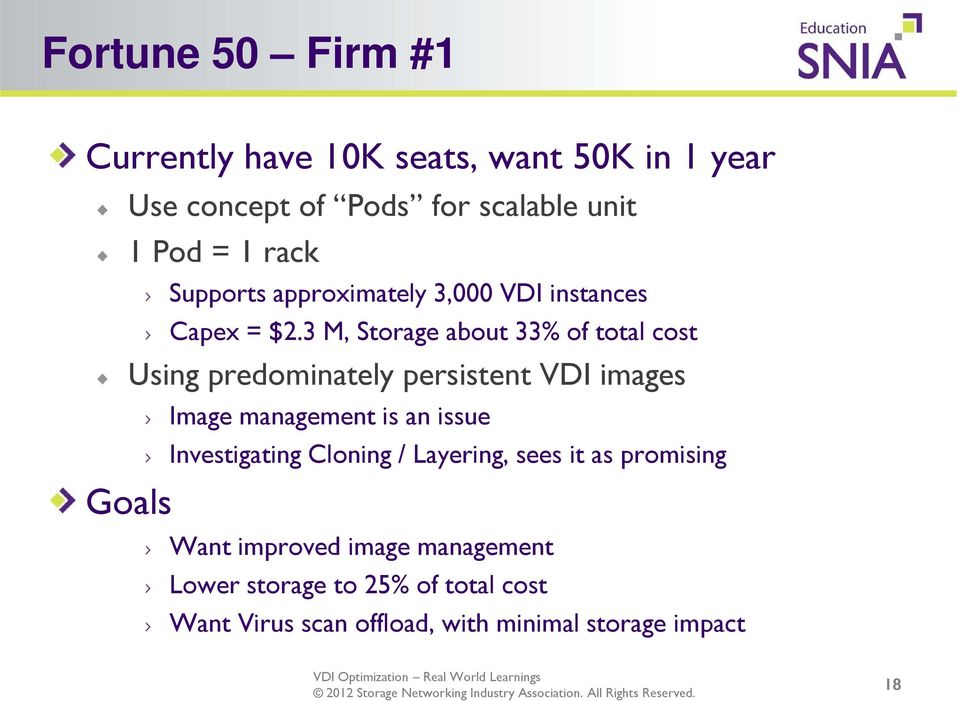 3 M, Storage about 33% of total cost Using predominately persistent VDI images Goals Image management is an issue