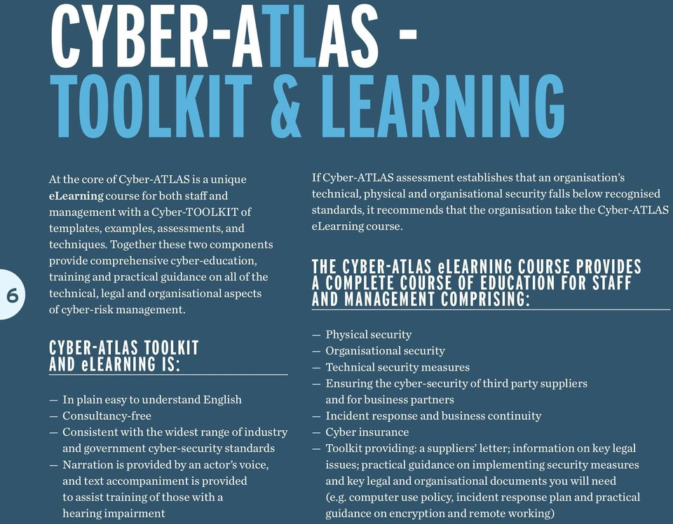 CYBER-ATLAS TOOLKIT AND elearning IS: In plain easy to understand English Consultancy-free Consistent with the widest range of industry and government cyber-security standards Narration is provided