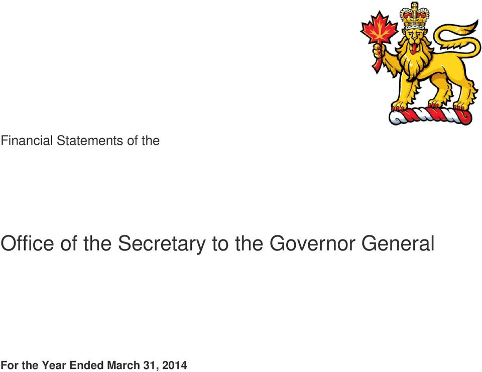 the Governor General For