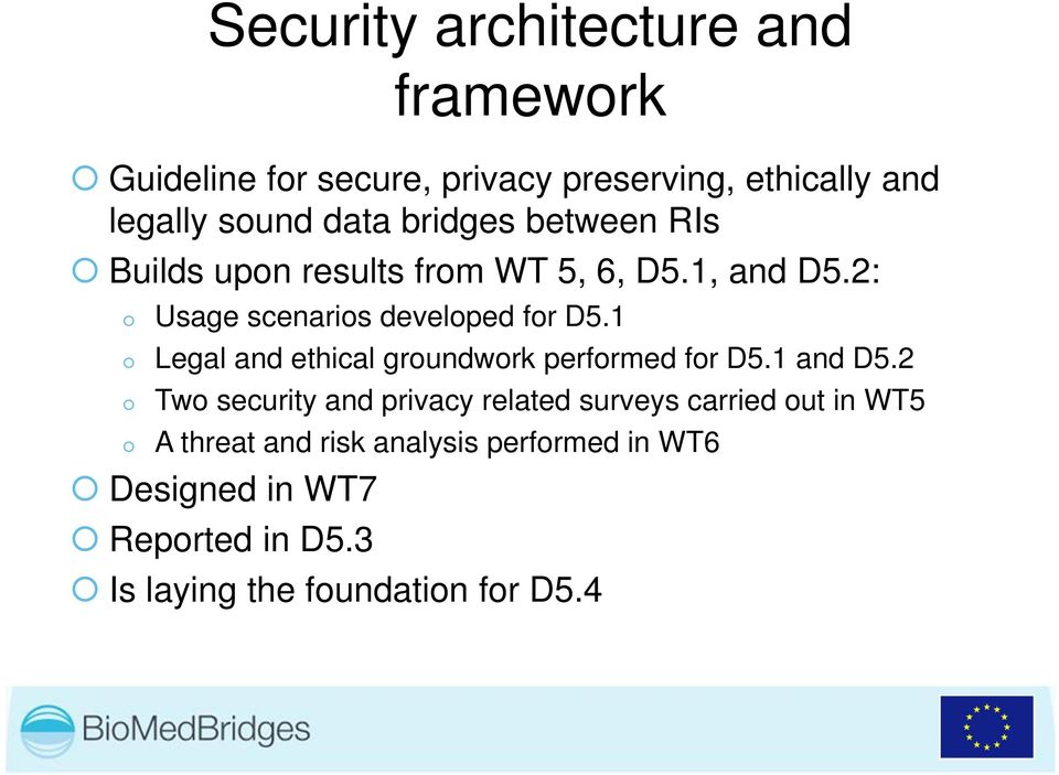 1 Legal and ethical groundwork performed for D5.1 and D5.