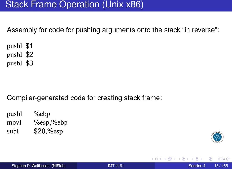 Compiler-generated code for creating stack frame: pushl movl subl