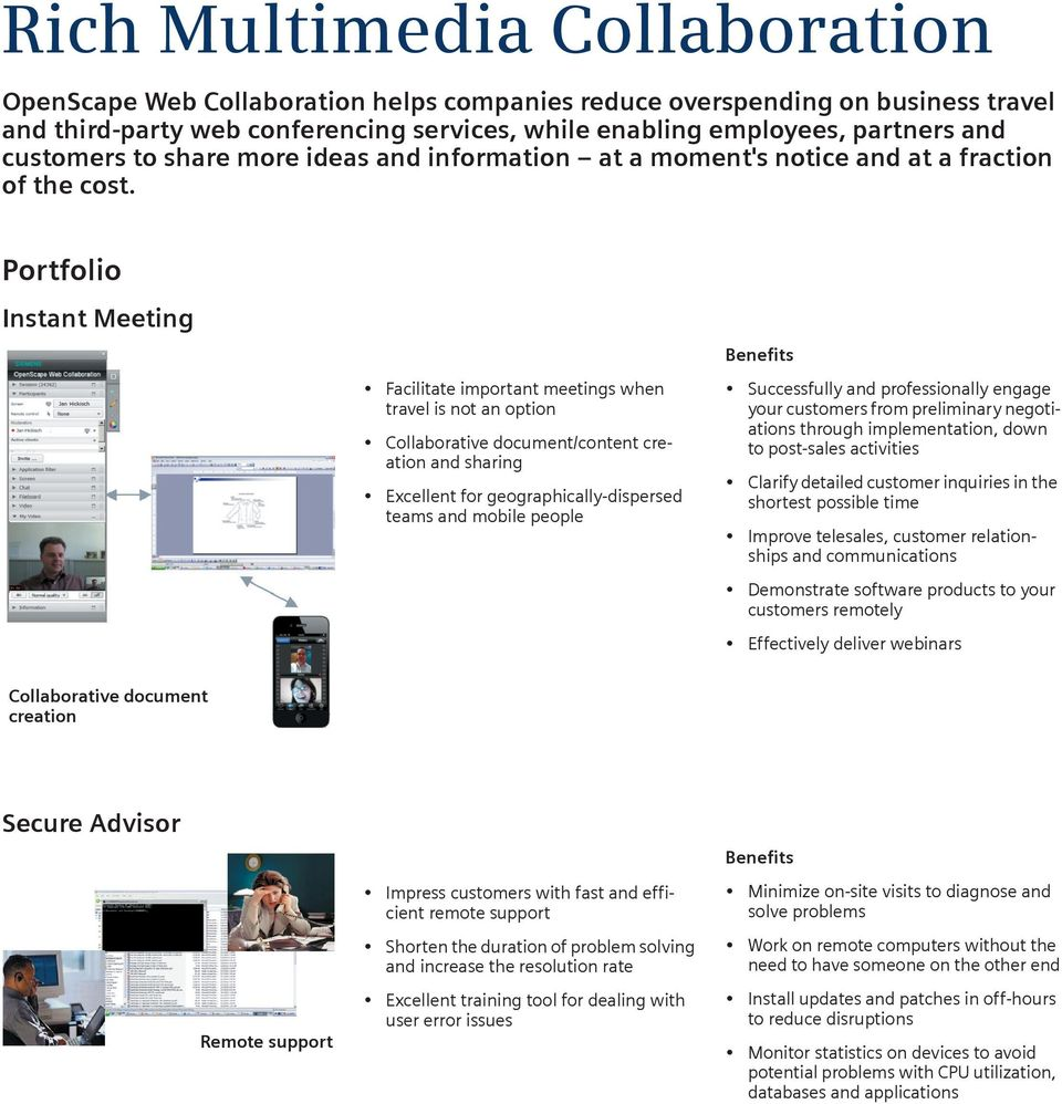 Portfolio Instant Meeting Facilitate important meetings when travel is not an option Collaborative document/content creation and sharing Excellent for geographically-dispersed teams and mobile people