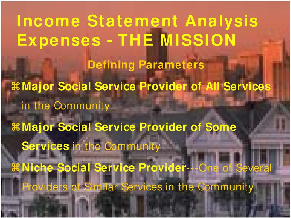 Some Services in the Community Niche Social Service Provider---One of Several