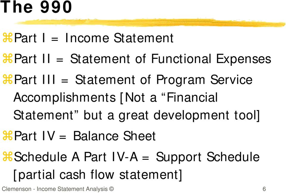 Statement but a great development tool] Part IV = Balance Sheet Schedule A Part