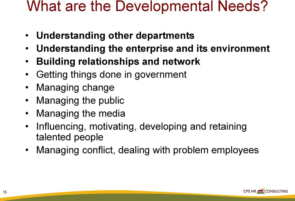 relationships and network Getting things done in government Managing change Managing the