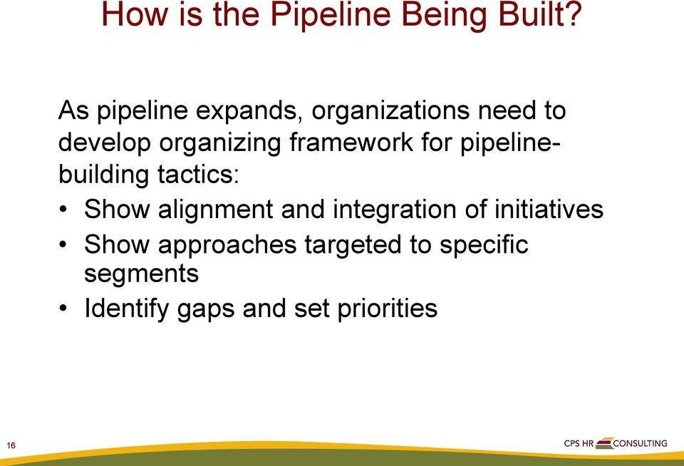 framework for pipelinebuilding tactics: Show alignment and