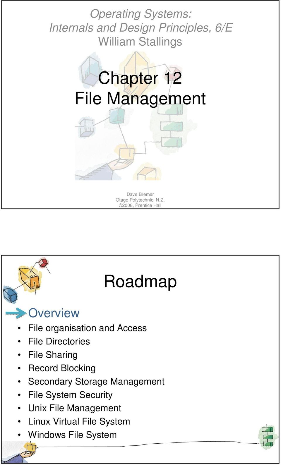 2008, Prentice Hall Overview Roadmap File organisation and Access File Directories File