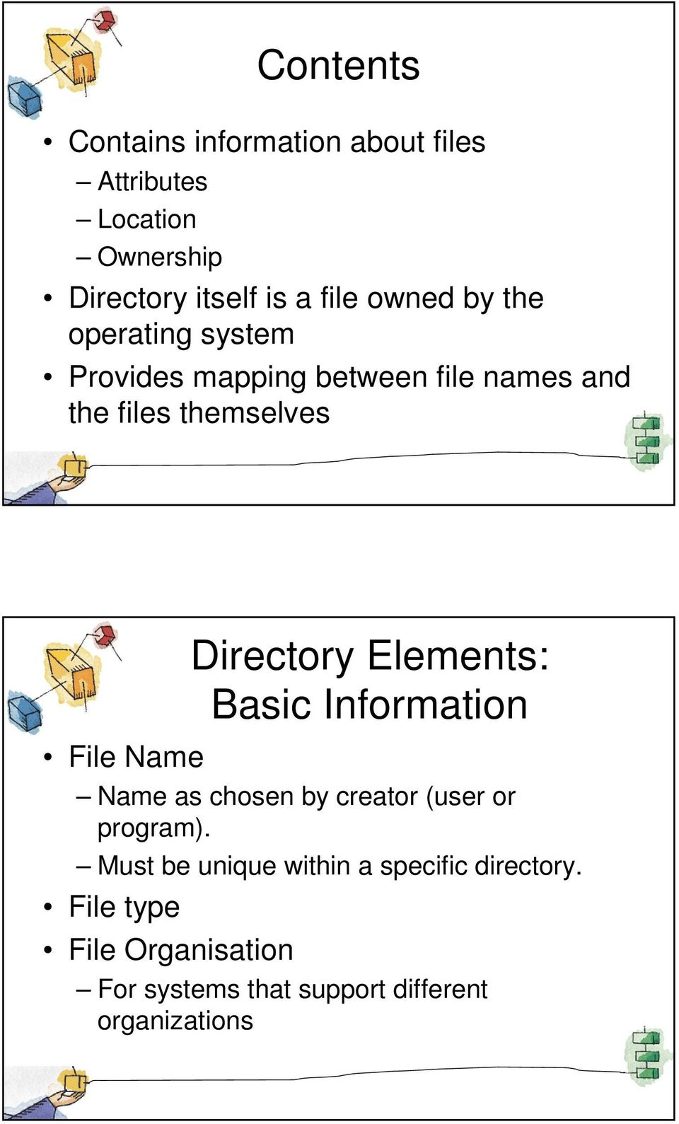 Elements: Basic Information File Name Name as chosen by creator (user or program).