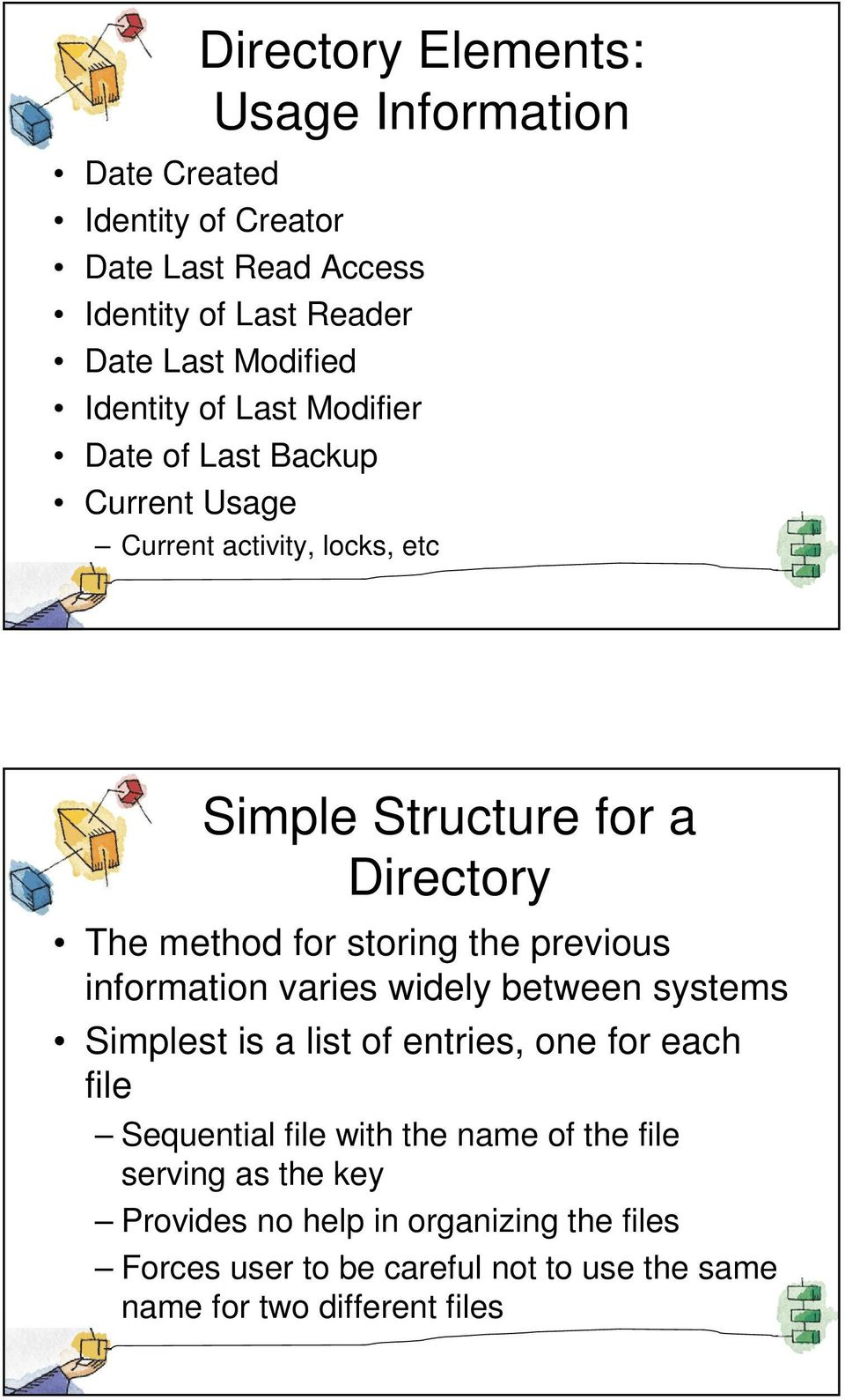storing the previous information varies widely between systems Simplest is a list of entries, one for each file Sequential file with the