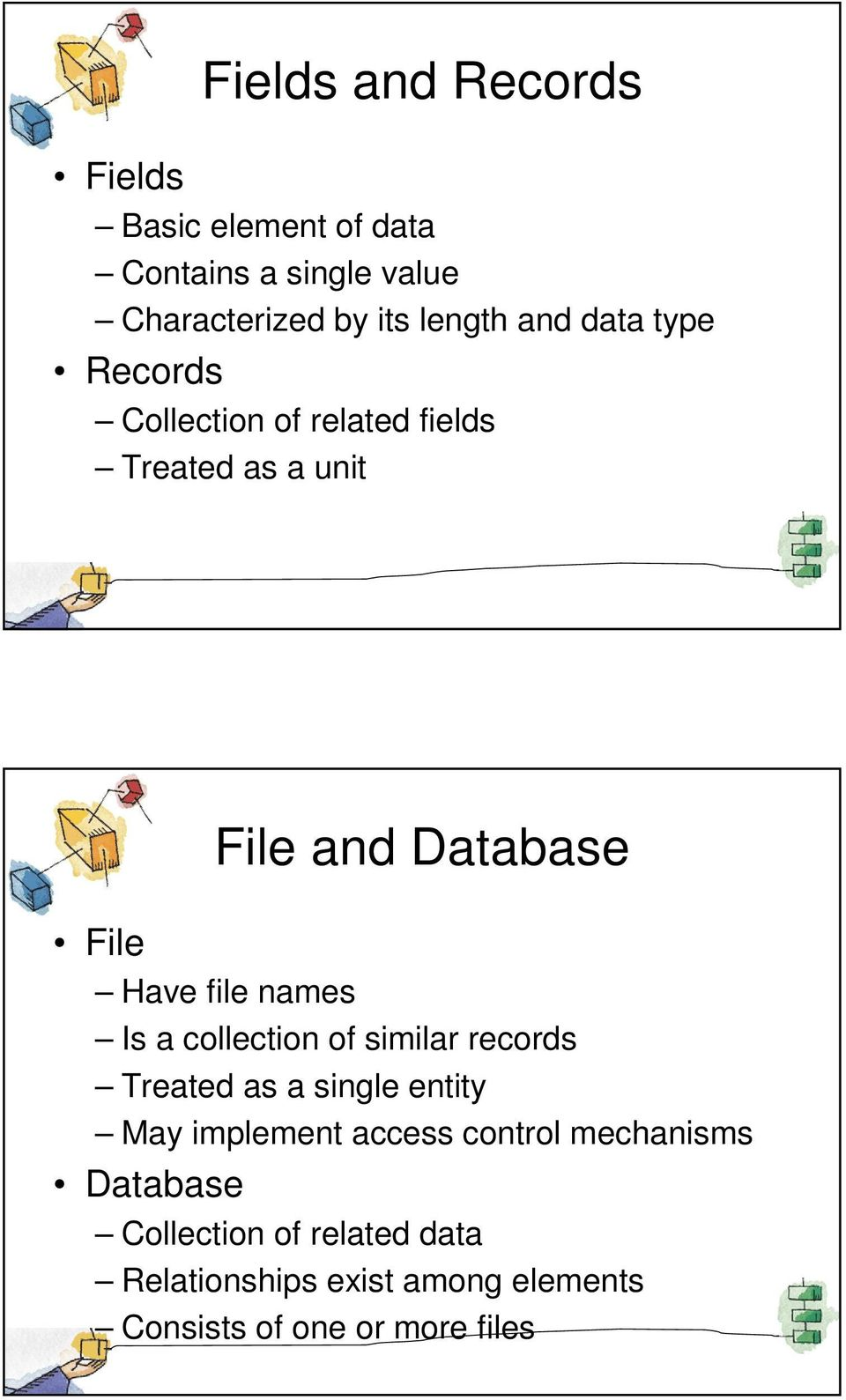 Database Is a collection of similar records Treated as a single entity May implement access control
