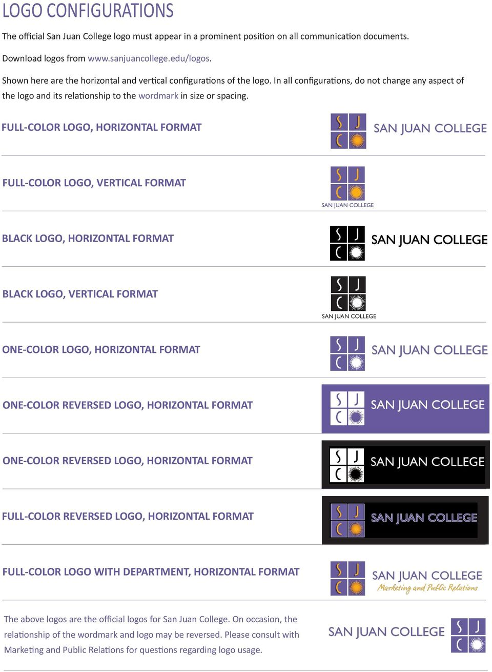 FULL-COLOR LOGO, HORIZONTAL FORMAT FULL-COLOR LOGO, VERTICAL FORMAT BLACK LOGO, HORIZONTAL FORMAT BLACK LOGO, VERTICAL FORMAT SAN JUAN COLLEGE Advising and Counseling Center ONE-COLOR LOGO,