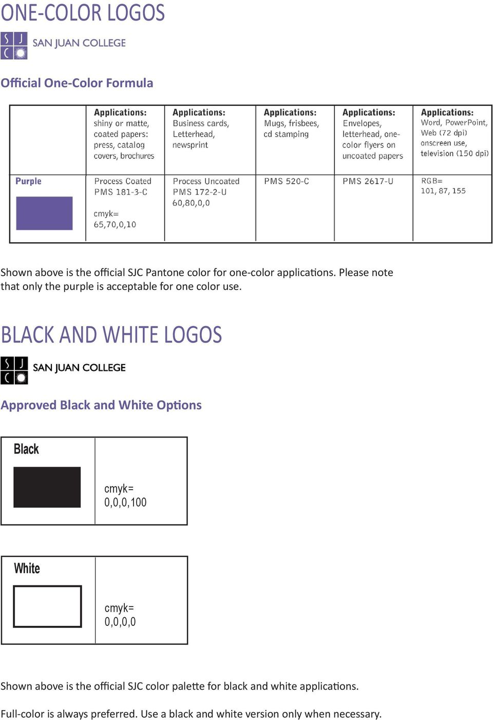 BLACK AND WHITE LOGOS Approved Black and White Options Black cmyk= 0,0,0,100 White cmyk= 0,0,0,0 Shown above