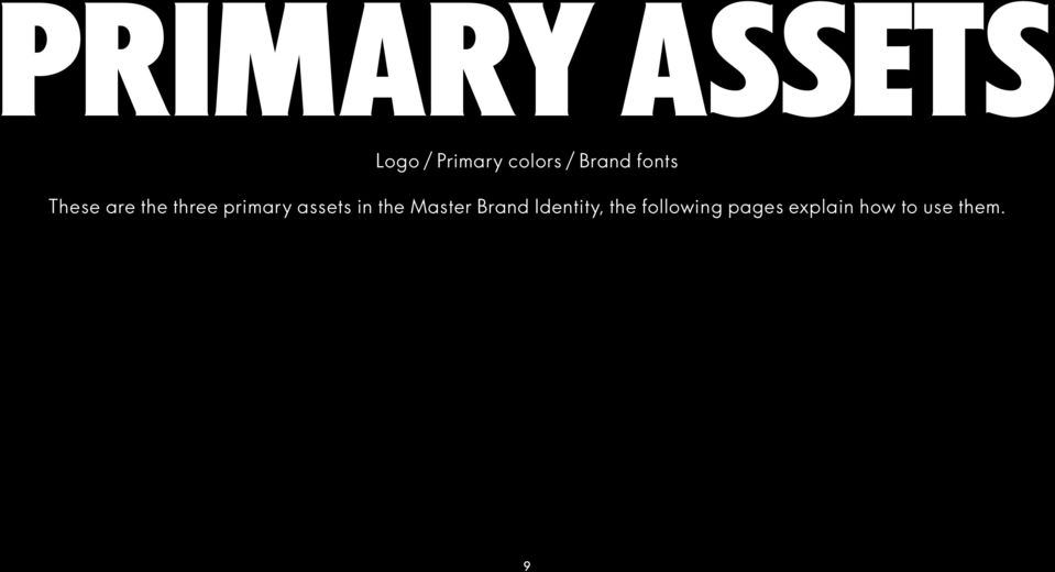 assets in the Master Brand Identity, the