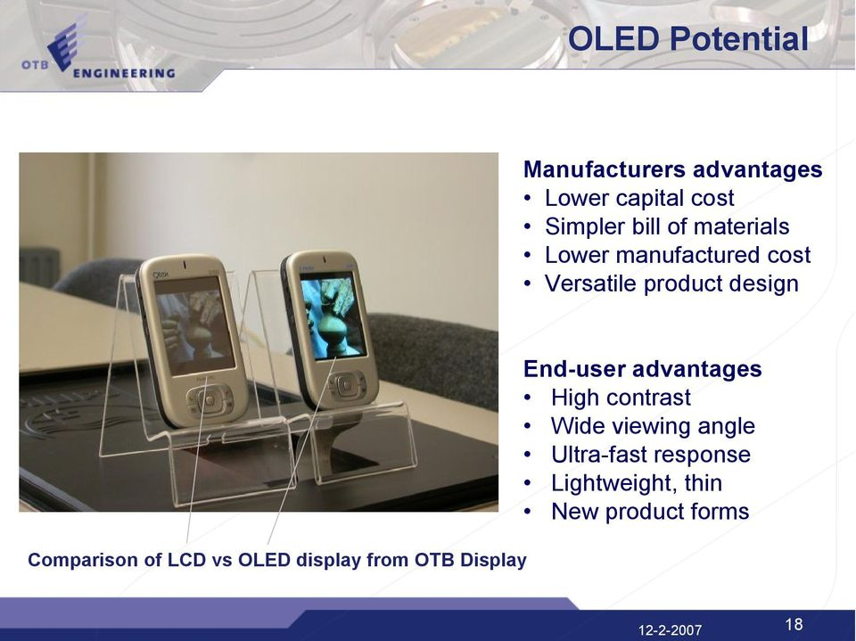 vs OLED display from OTB Display End-user advantages High contrast Wide
