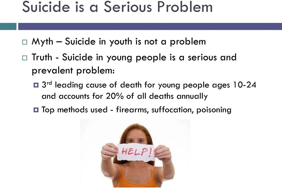 rd leading cause of death for young people ages 10-24 and accounts for