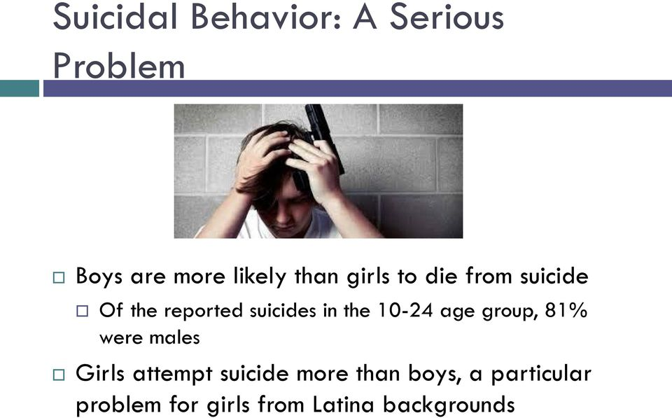 the 10-24 age group, 81% were males Girls attempt suicide