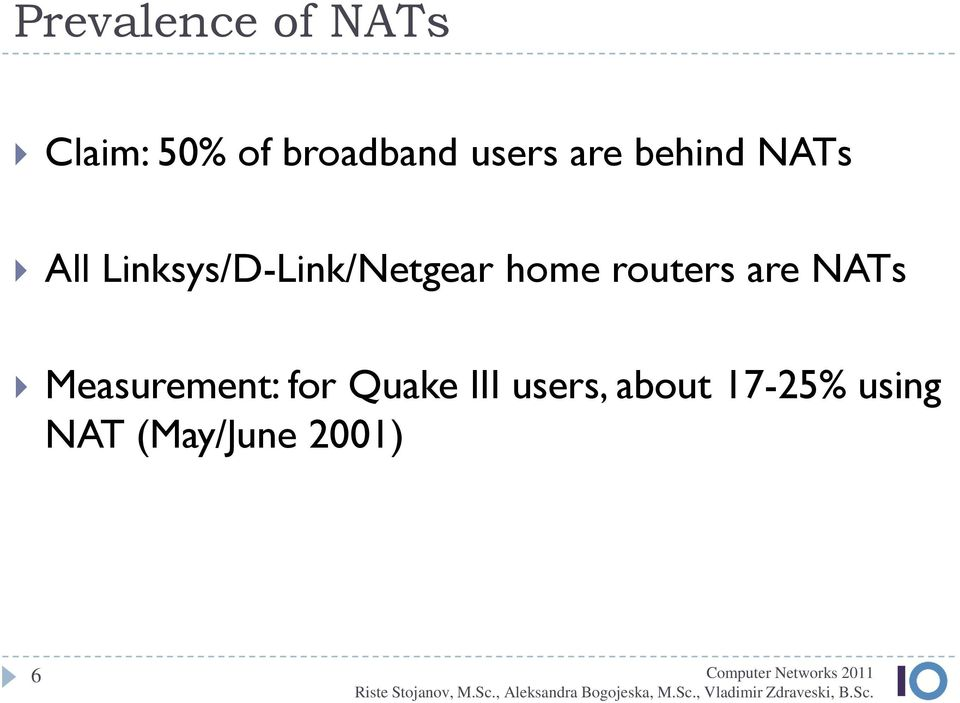 Linksys/D-Link/Netgear home routers are NATs