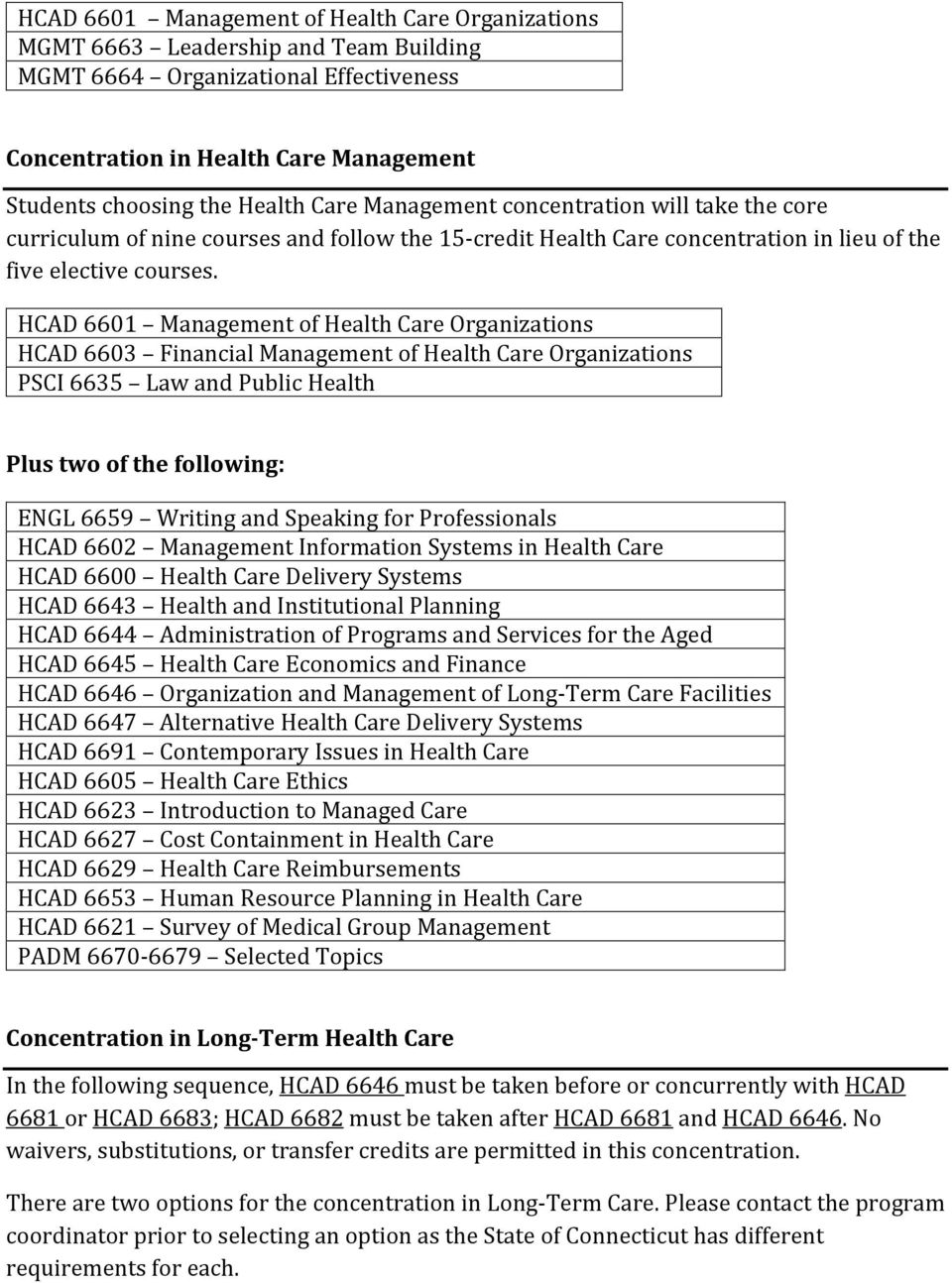 HCAD 6601 Management of Health Care Organizations PSCI 6635 Law and Public Health HCAD 6602 Management Information Systems in Health Care HCAD 6600 Health Care Delivery Systems HCAD 6643 Health and