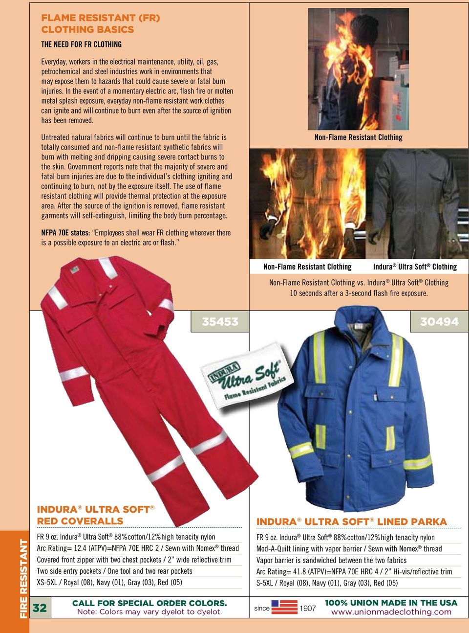 In the event of a momentary electric arc, flash fire or molten metal splash exposure, everyday non-flame resistant work clothes can ignite and will continue to burn even after the source of ignition