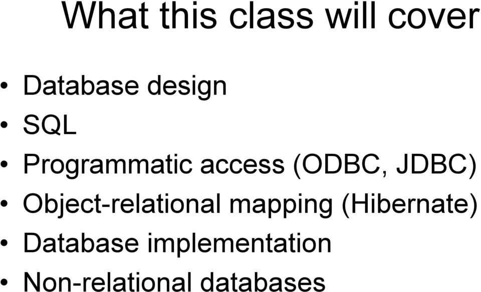 JDBC) Object-relational mapping