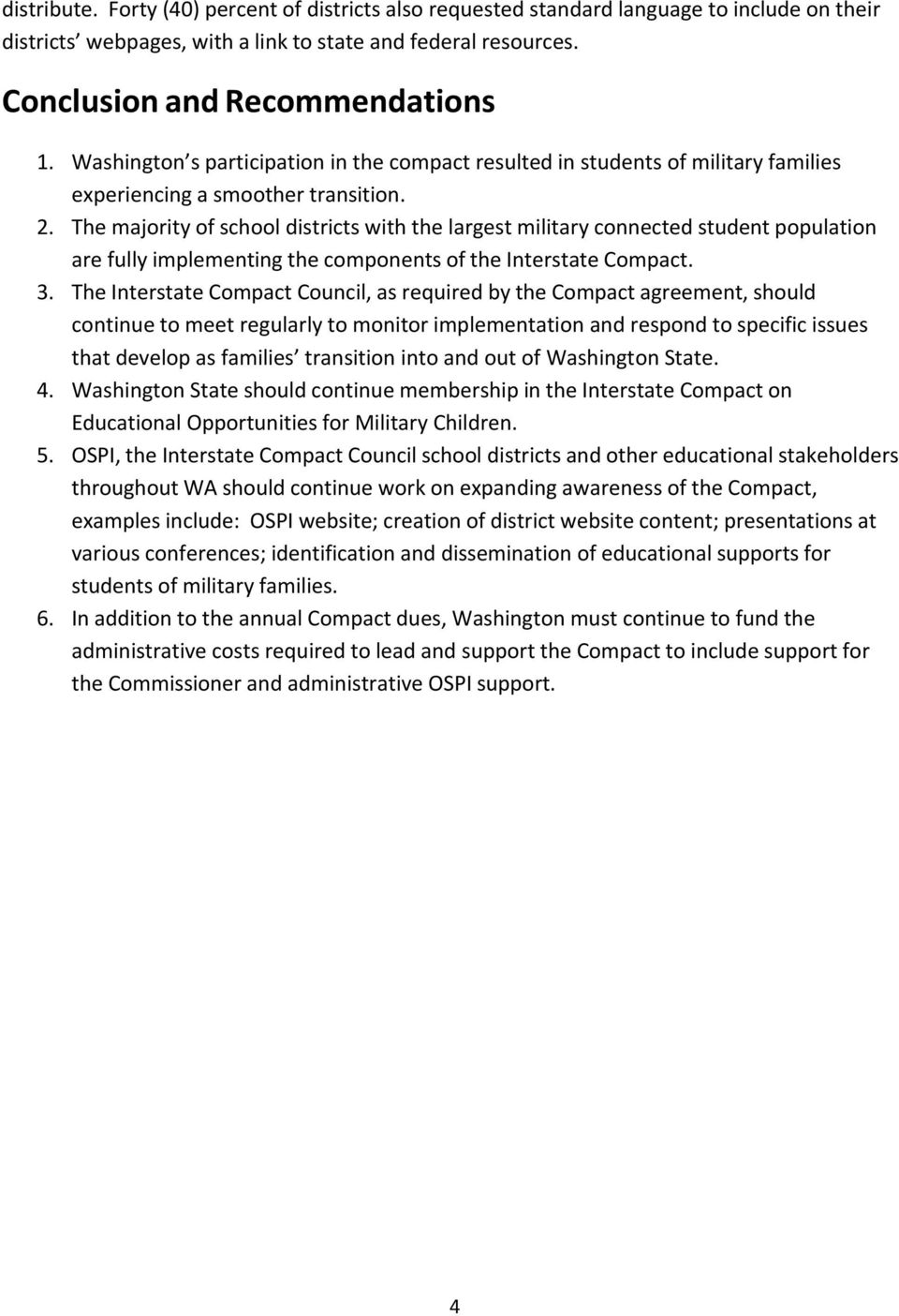 Recommendations From The Washington Council Interstate Compact On