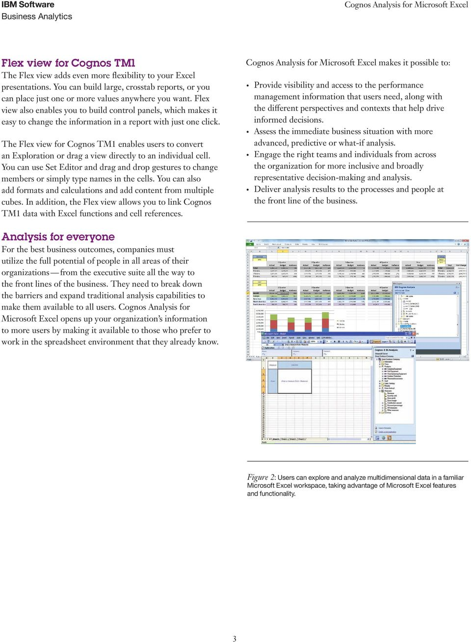The Flex view for Cognos TM1 enables users to convert an Exploration or drag a view directly to an individual cell.