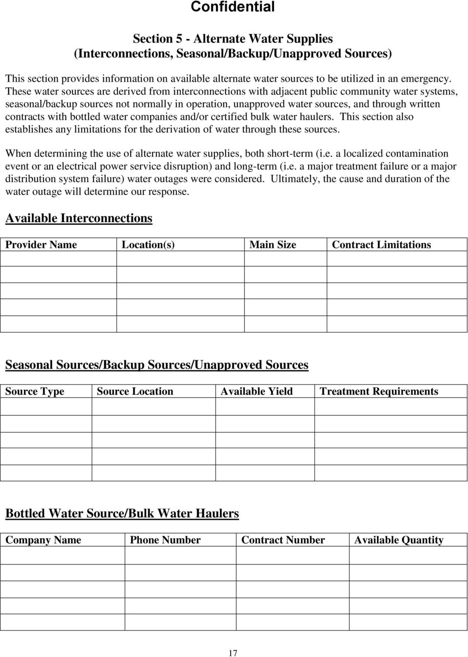 contracts with bottled water companies and/or certified bulk water haulers. This section also establishes any limitations for the derivation of water through these sources.
