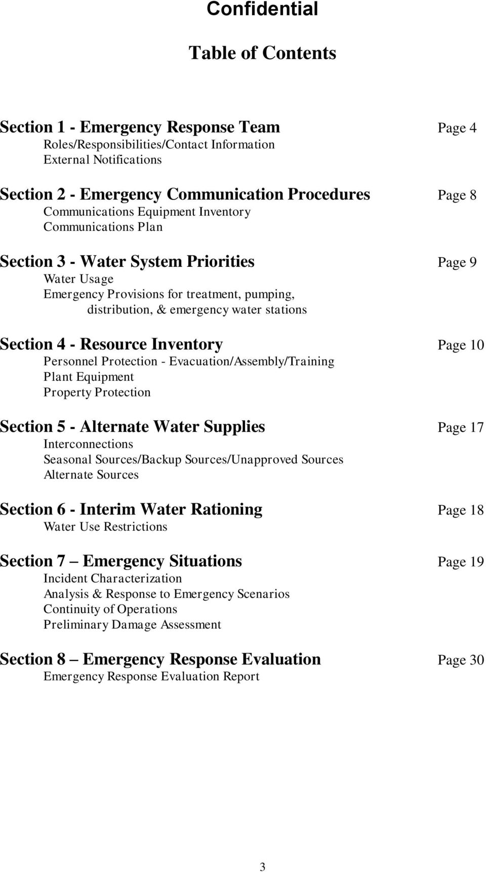 Resource Inventory Page 10 Personnel Protection - Evacuation/Assembly/Training Plant Equipment Property Protection Section 5 - Alternate Water Supplies Page 17 Interconnections Seasonal