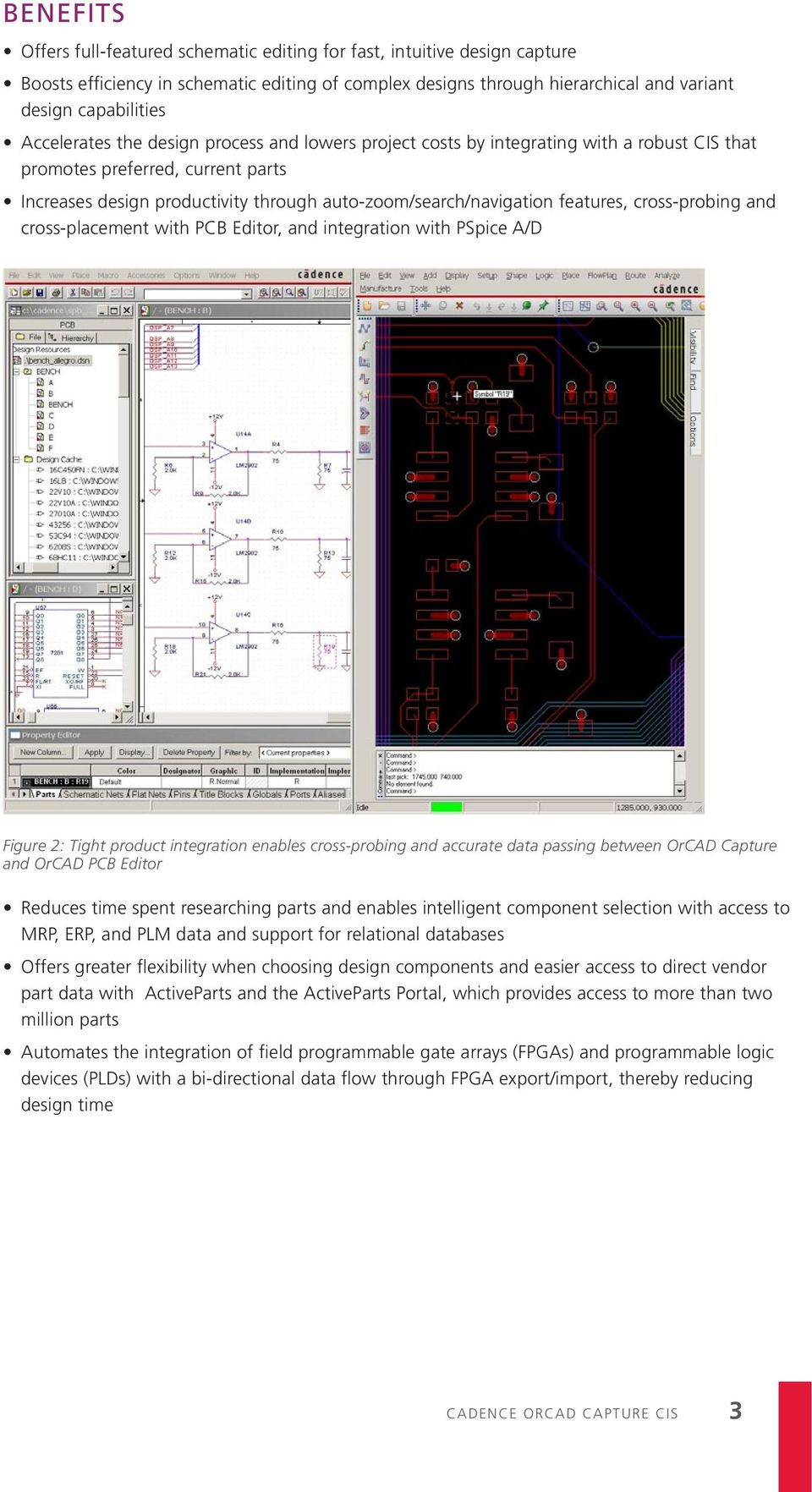 features, cross-probing and cross-placement with PCB Editor, and integration with PSpice A/D Figure 2: Tight product integration enables cross-probing and accurate data passing between Capture and