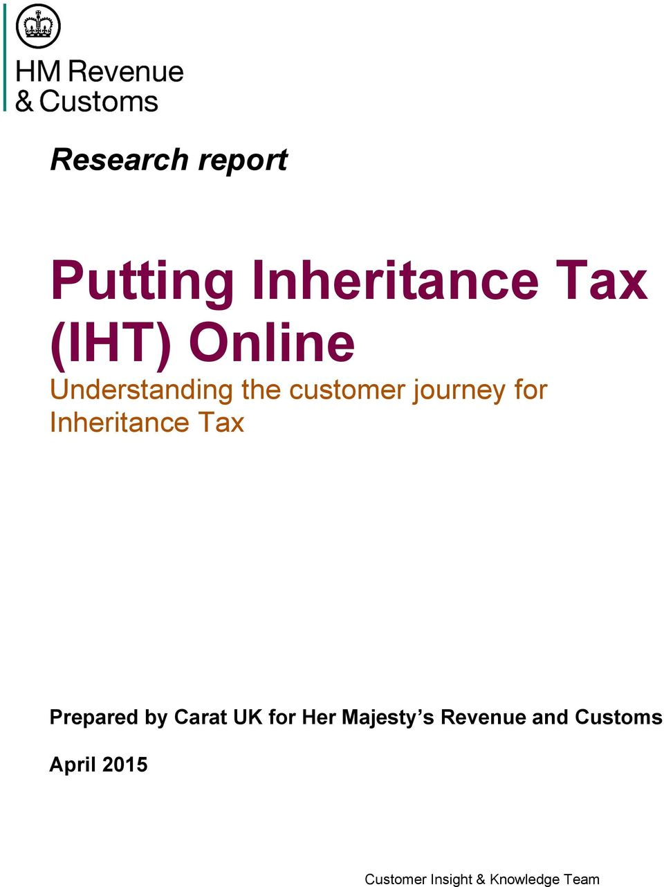 journey for Inheritance Tax Prepared by