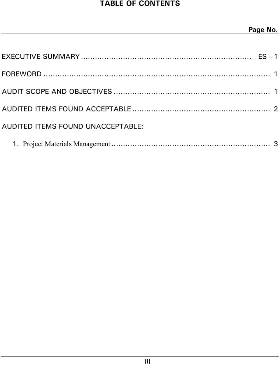 .. 1 AUDITED ITEMS FOUND ACCEPTABLE.