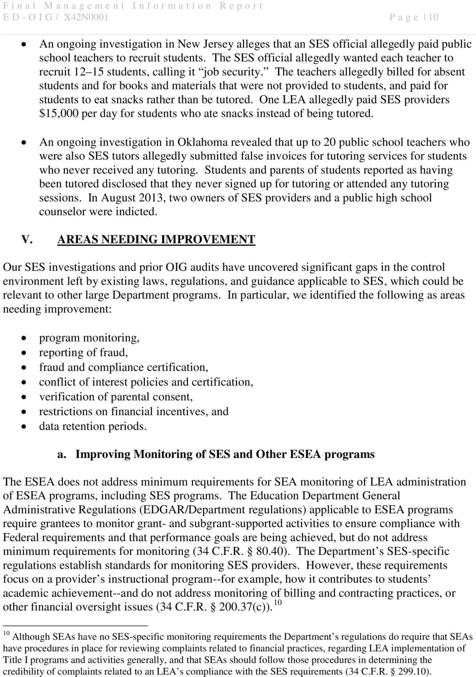 UNITED STATES DEPARTMENT OF EDUCATION OFFICE OF INSPECTOR GENERAL ...