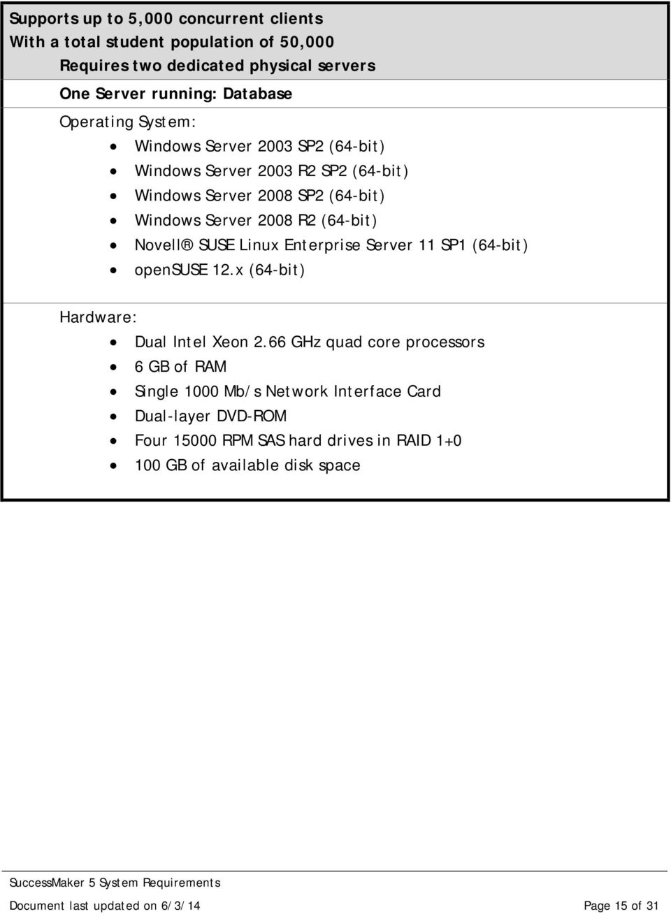Server 2008 R2 (64-bit) Novell SUSE Linux Enterprise Server 11 SP1 (64-bit) Dual Intel Xeon 2.