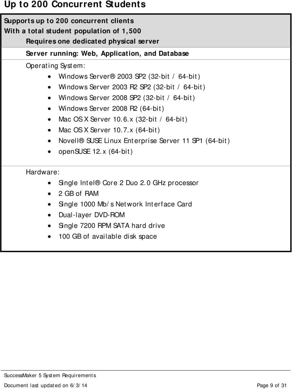 Windows Server 2008 R2 (64-bit) Mac OS X Server 10.6.x (32-bit / 64-bit) Mac OS X Server 10.7.