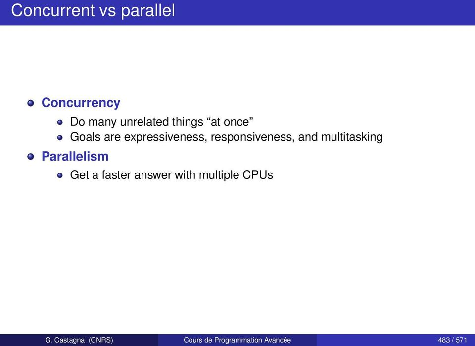 multitasking Parallelism Get a faster answer with multiple