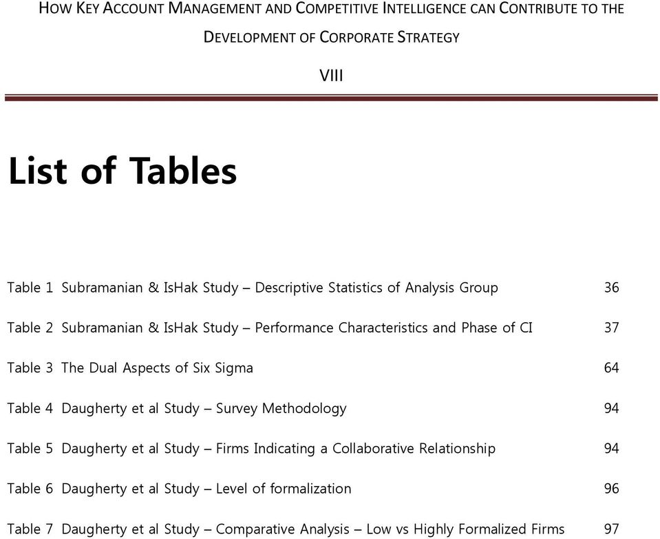 al Study Survey Methodology 94 Table 5 Daugherty et al Study Firms Indicating a Collaborative Relationship 94 Table 6